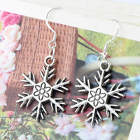 tibetan jewelry - MIC x42 mm Tibetan Silver Flower Snowflake Charm Pendant Earrings Silver Fish Ear Hook Dangle Chandelier Jewelry E738