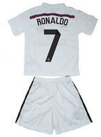jerseys for kids - 2014 ronaldo home white soccer football jersey kits for kids children youth soccer uniforms