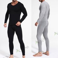 Wholesale Slimming Bamboo High Quality - Bamboo Fiber Thermal Underwear Men Winter V-neck Ultra-thin Slim Long Johns High Quality Men's Thermal Underwear Free Shipping