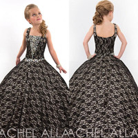 Wholesale Sweet Kids Party Black Lace Flower Girls Beaded With Crystals Ball Gown Floor Length Child Glitz Girl s Pageant Dresses UM3081