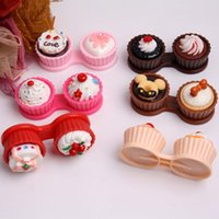 Wholesale Contact Lens Accessories Contact Lens Storage Set new cute Cream cake styles contact lenses case box lens Companion box Lenses case
