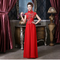 cheongsam - Chinese traditional dress embroidery Qipao phoenix embroidery Wedding Dresses Short Sleeve long cheongsam QP
