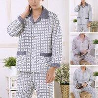 mens sleepwear - Plus Size Cotton Pyjamas Men Plaid Woven Pijama Long Sleeve Pajamas Mens Sleepwear Tops Pants Asian Size XL XL JK0022 Salebags