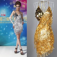 Wholesale 2015 New high quality Sexy Lady Cocktail Club Wear Party Latin Dance Asymmetric Sequin Fringe Dress