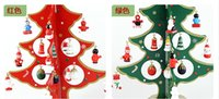 desktop wooden - 2015 Christmas Decorations Gifts Red Blue CM CM Wooden Christmas Tree Holiday Gift Desktop Furnishing Articles Props