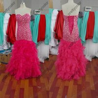 Cheap Custom Made Real Samples Full Rhinestone Bodice Mermaid Prom Dresses Hot Pink Organza Gown Sleeveless Ruffled Skirt Long Lace Up Back