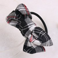 Wholesale England style Classic lattice cloth bowknot hair accessories Hair Rubber Bands