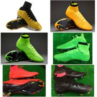 Wholesale Mix Orders New Gold Flyknit Soccer Shoes Men Orange Ankle Net Ball Boots Athletic Shoe Man Sports Cleats Magista High Top Cheap Super Fly