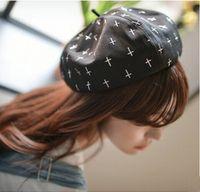 bakers pink - Newest Women Artist French Cap Hat Cross Pumpkin Hat Beanie Beret Newsboy Gatsby Baker Retro Accessory Headwear