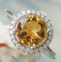 Gemstone Ring silver ring Citrine ring Natural real citrine ring 925 sterling silver plated 18k white gold Perfect jewelry Gemstone ring DH#15060506
