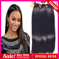virgin hair extensions - Brazilian Hair Human Hair Weave Virgin Brazilian Hair Bundles Unprocessed Peruvian Indian Malaysian Cambodian Straight Hair Extensions A