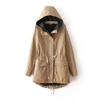 Cheap Wholesale-E.Li Fashion 2015 Autumn Winter Dot Print Trench Coat For Women European Style Hooded Outwear Casaco Feminino Free Shipping