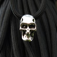 Wholesale 10pcs Double Hole Charm Metal Skull Bead For Paracord Knife Lanyards Silver