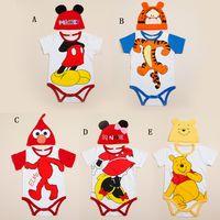 Cheap (3 Set Lot) 2015 New Baby Clothing Romper + Cap 2 Pieces Set Cotton Summer Cartoon Romper Baby Set