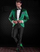 Wholesale Shiny Black Jackets For Men - 2016 New Tailored Groom Suits For Men Shiny Satin Green Tuxedo Jacket With Black Pants Custom Made Groom Tuxedos (Jacket+Pants)