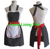 onesize cotton apron - Black Household Cleaning Kitchen Apron Cooking s Vintage Sweetheart Cotton Polka Dot Nail Salon Work Apron