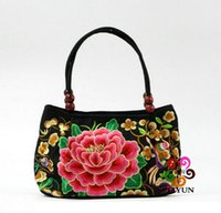 hmong - Chinese embroidered flowers handbag tote cotton bag tribal ethnic hmong Female Bags QB01201
