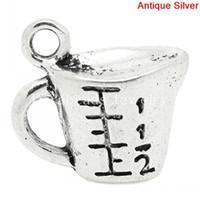 antique measuring cup - Charm Pendants Measure Cup Antique Silver quot Scale quot Carved x14mm B27983