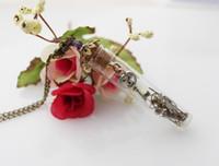 skeleton key - 60X12MM Steampunk Necklace antique watch parts gears skeleton key bottle vintage glass vial crystal copper