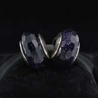 Cheap 5pcs S925 Sterling Silver Screw Midnight Blue Faceted Murano Glass Charm Beads Fits European Pandora Jewelry Charm Bracelets