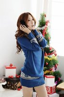 Wholesale 6017 women new fashion blue snowflakes piles collar long sleeve long design pullovers sweaters winter sweater dresses
