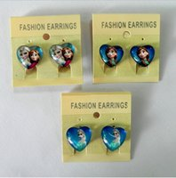 clip on earrings - 3 styles New KIDS Earrings Screw Back Anna Elsa Clip on earrings Cartoon girl earrings Charm LJJA1460 pair