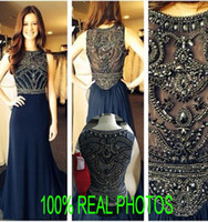 Wholesale Real Image Crystal Prom Evening Dresses Dark Navy Blue Sheer Neck robe de soiree Long Chiffon Beads Formal Gowns Cheap Rachel Allan