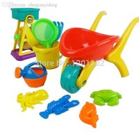barrel trolley - Plastic Trolley Shovel Rakers Sieve Mold Watering Can Bucket Sandglass Barrel Sand Beach Tool Toy Outdoor Play Set