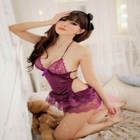 adult toys and lingerie - Adult sex toys in Europe and America transparent lace sexy purple pajamas Dress Lingerie three