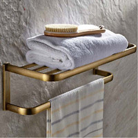 Wholesale And Retail NEW Antique Brass Wall Mounted Bathroom Shelf Towel Rack Holder With Towel Bar