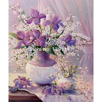 artistic vases - Artistic Painting Purple flowers and Vase diamonds adornment series diamond embroidery cross stitch embroidered