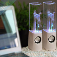 Cheap Dancing Water Speakers Stereo Loudspeakers Subwoofers for iPhone 6 Plus iPad Air USB LED Light Colorful Water-drop Show for Laptop Computer