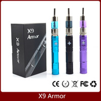 achat en gros de x9 kit de tension variable-X9 Armor E Kit de démarrage de cigarette X9 Batterie d'armure 1300mAh Voltage variable Aerotank Vaporisateur de réservoir de verre X9 Kits Huge Vapor X6 Upgrade