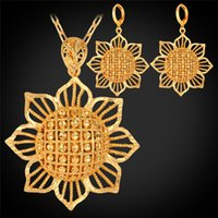 Wholesale Women s Cute Sunflower Gold Earrings K Real Gold Plated Hollow New Trendy Inch Pendant Necklace Set