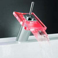 Wholesale Polished Chrome Glass Color Changing LED Water Kitchen Bathroom Modern Faucet Handles Mixer Tap