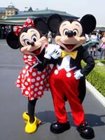 La alta calidad de Mickey Mouse adulto trajes de la mascota de Mickey y Minnie traje de la mascota del traje de lujo del carnaval dos PC libera el envío