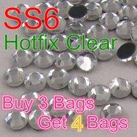 Wholesale Buy bags get bag free SS6 Clear Crystal DMC HotFix FlatBack Strass Rhinestones Hot Fix Crystal Stones
