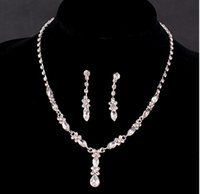 Wholesale 2015 Victorian Faux Pearl Austrian Rhinestone Crystal Necklace Earrings Set Two Pieces Bridal Wedding Jewlery TL001