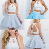 beautiful cheap dresses - Cheap Two Pieces Short Homecoming Dresses Beautiful Crew Neck Backless Pearls Party Prom Gowns Under New Arrival Custom Made