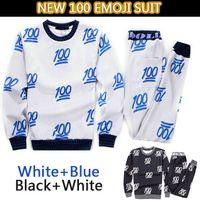 Cheap Hot sale New 100 emoji printed cute cartoon sweat suit tracksuit for men women girl boy joggers&hoodies set outfit cloth balck&white