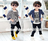 Cheap Wholesale-CJ001 Korean style boys fashion blazer kids blazers for spring plaid & blue polka dot casual suit blazers for children in