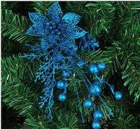 christmas flower pick - Hot Sale New Arriva Christmas tree decoration flower cm blue ear cuttings hollow high grade Christmas pick flowers