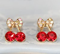 Wholesale Promotion Korean Exquisite Sweet Girls Fashion Brincos KG Plated Cystal Cherry Bowknot KGP Accessories Stud Earrings E2395