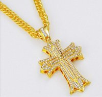bar diamond necklace - HIPHOP hip hop bar singer influx of people full diamond cross necklace double hip hop necklace