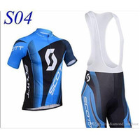 Wholesale Factory Selling SCOTT Short Sleeve Cycling Jersey and Cycling Bib Shorts Kit SCOTT Cycling Clothing Set SIZE XS XXXXL S04