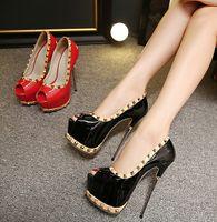 Wholesale New style Fashion Dress women Shoes pu peep toe solid red black High heels thin heel Rivets Sexy Pumps women slip on big size