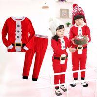 Wholesale Xmas Gift Santa Claus Costume Baby Kids Children Nightwear Pajamas Sleepwear Set