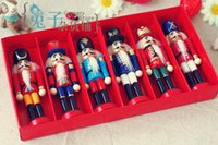 Wholesale 6pcs Nutcracker Puppet Zakka Creative Desktop Decoration cm Wood Made Christmas Ornaments Drawing Walnuts Soldiers Band Dolls