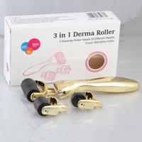 Wholesale 3 in glod handle stainless steel needle stainless steel needles skin roller microneedle derma rollering system