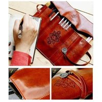 beauty fee - New Korea Stationery Vintage Leather Big Capacity Pencil Case Cosmetic Bag intage leather bag Beauty Makeup Fee Shipping